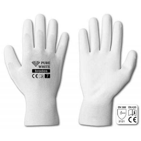 "Rukavice ochranné 10"" polyuretan PURE WHITE"