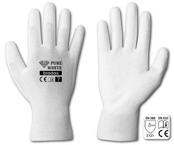 "Rukavice ochranné 11"" polyuretan PURE WHITE *HOBY 0Kg BR-RWPWH11"