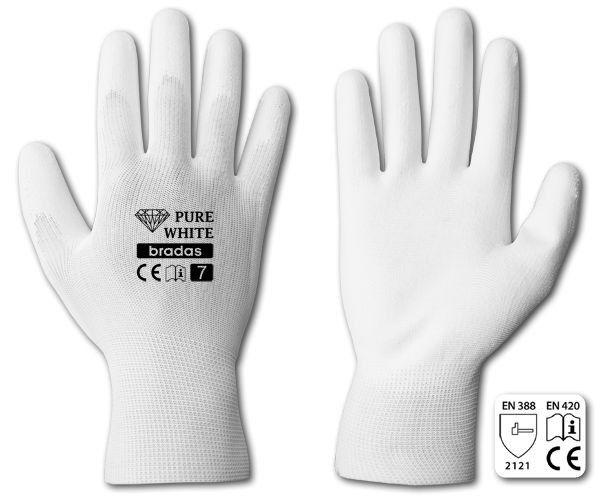 "Rukavice ochranné 9"" polyuretan PURE WHITE *HOBY 0Kg BR-RWPWH9"