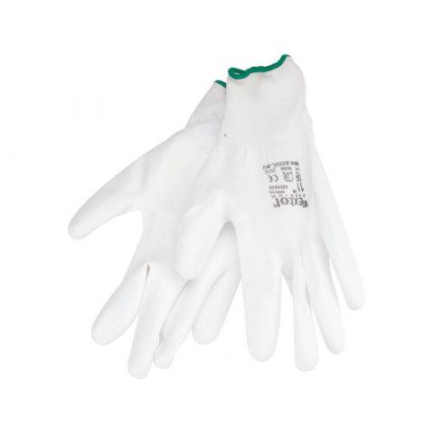 """Rukavice z polyesteru polomáčené v PU, bílé, 11"""", velikost 11"""", EXTOL PREMIUM"""