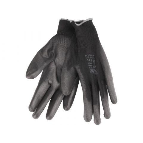 """Rukavice z polyesteru polomáčené v PU, černé, 11"""", velikost 11"""", EXTOL PREMIUM"""