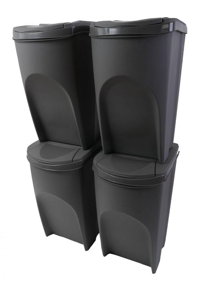 Sada 4 odpadkových košů 4x35l SORTIBOX šedá *HOBY 2Kg IKWB35S4-405U