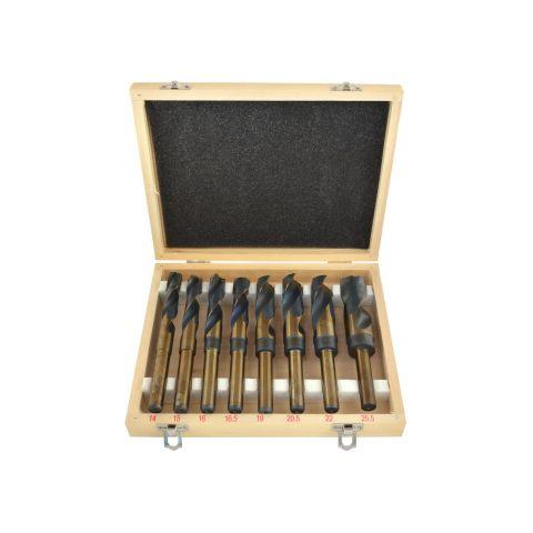 Sada 8ks HSS-Co vrtáků 14-25,5mm do oceli a dřeva GEKO
