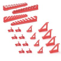 Sada držáků BINEER HOOKS na montážní panely, červené, 20 ks KISTENBERG
