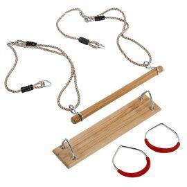 Sada 'fun pack' - dřevěný sedák, dřevěná hrazda a kovové kruhy KAXL
