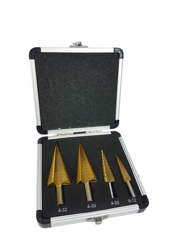 Sada stupňovitých vrtáků 4ks (4-12,20,30,32) HSS-TiN v kufříku MAR-POL