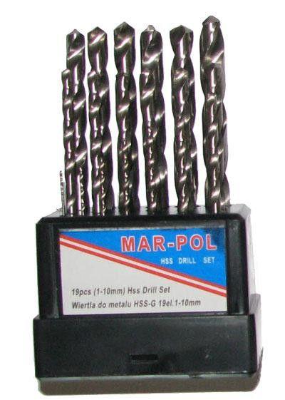 Sada vrtáků na železo HSS-G 1-10mm 19ks MARPOL Nářadí-Sklad 1 | 0.6