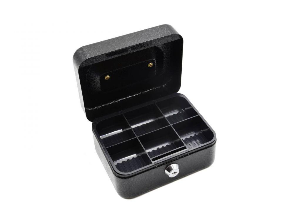 Schránka na peníze přenosná s plastovým pořadačem na mince 150x120x80mm, 2 klíče GEKO