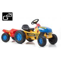 Hračka G21 Šlapací traktor Classic s vlečkou žluto/modrý