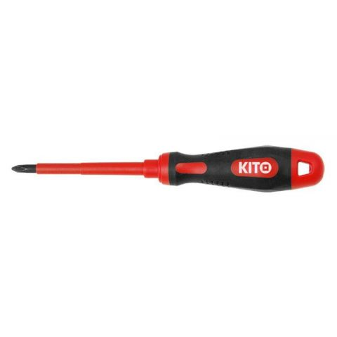 Šroubovák elektrikářský křížový, PH 0x75mm, VDE certifikát, pro práci pod napětím do 1000V, GS, 61CrV5, KITO