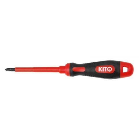 Šroubovák elektrikářský křížový, PH 2x100mm, VDE certifikát, do 1000V, GS, 61CrV5, KITO