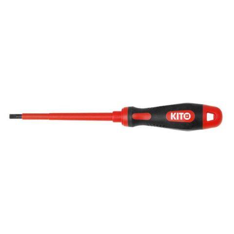 Šroubovák elektrikářský plochý, (-) 2,5x75mm, VDE certifikát, pro práci pod napětím do 1000V, GS, 61CrV5, KITO