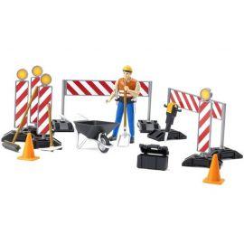 Stavební set - dělník s příslušenstvím + značení 62000 BRUDER