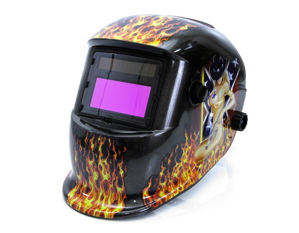 Svářečská kukla samostmívací s potiskem oheň, černá MAR-POL Nářadí-Sklad 1 | 1