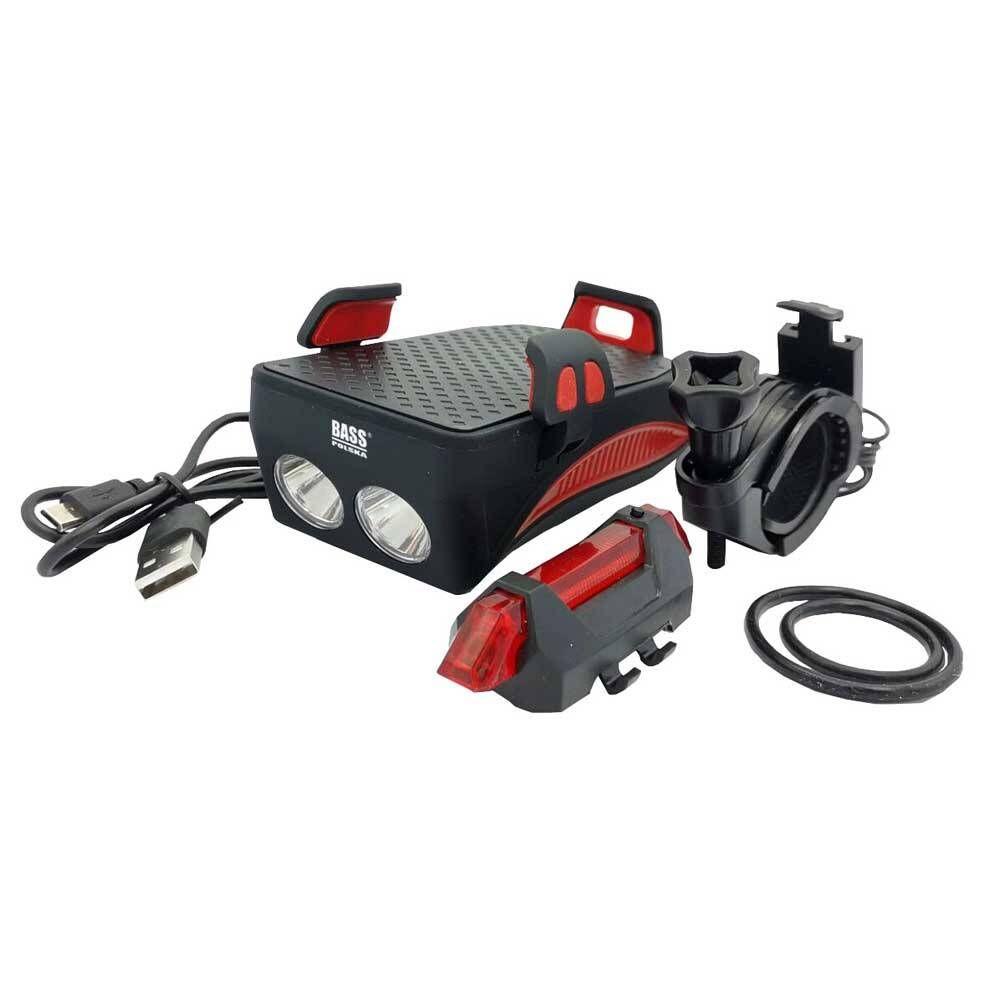 Světlo na kolo 4v1, držák telefonu, powerbanka, klakson BASS *HOBY 0.25Kg BP-5865