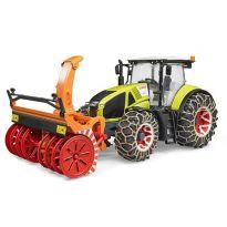 Traktor Claas Axion 950 se sněhovými řetězy a frézou 03017 BRUDER