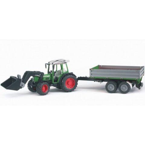 Traktor Fendt 209 S s čelním nakladačem a přívěsem 01999 BRUDER