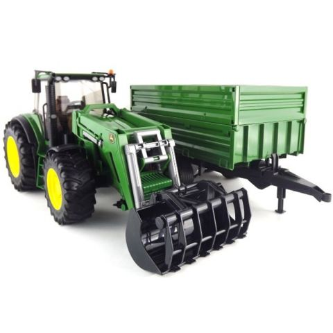 Traktor John Deere 7930 s čelním nakladačem a přívěsem 03055 BRUDER