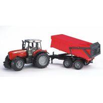 Traktor Massey Ferguson 7480 s přívěsem 02045 BRUDER