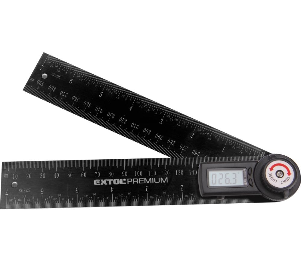 úhloměr digitální, 200mm, s pravítkem, nerez, EXTOL PREMIUM Nářadí-Sklad 1 | 0.24