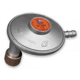 Úhlový regulátor tlaku plynu 37mbar, 1,5kg/h na turistické láhve s trnem