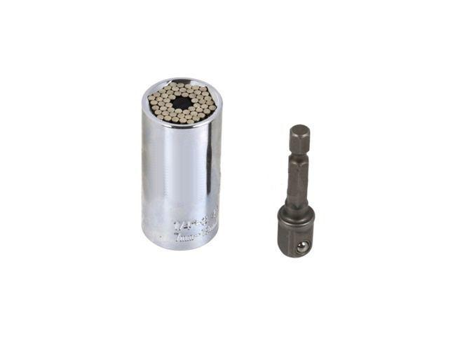 Univerzální nástrčná hlavice CrV 7-19mm + adaptér GEKO