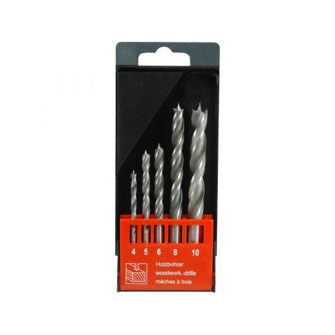 Vrtáky do dřeva, sada 5ks, 4-5-6-8-10mm, dvojitá šroubovice, CrV, EXTOL PREMIUM