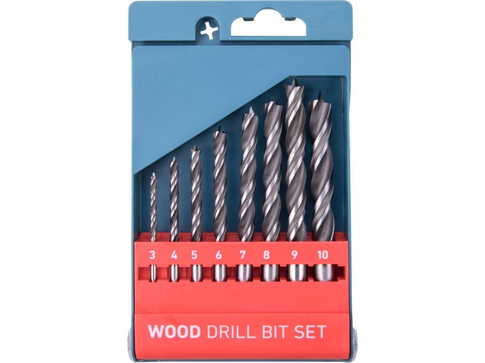 Vrtáky do dřeva, sada 8ks, 3-4-5-6-7-8-9-10mm, dvojitá šroubovice, CrV, EXTOL PREMIUM *HOBY 0.25Kg 8801221