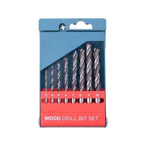 Vrtáky do dřeva, sada 8ks, 3-4-5-6-7-8-9-10mm, dvojitá šroubovice, CrV, EXTOL PREMIUM