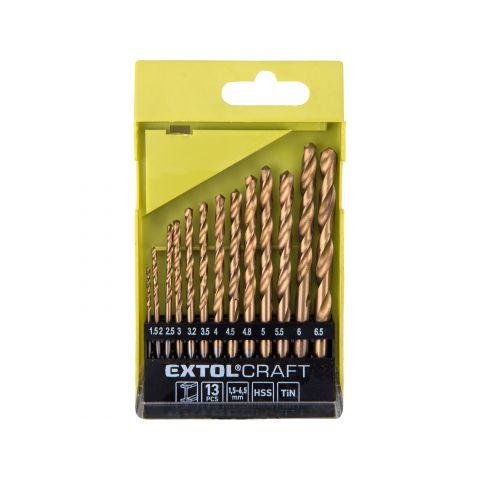 Vrtáky do kovu, sada 13ks, 1,5-6,5mm, HSS TITAN, EXTOL CRAFT