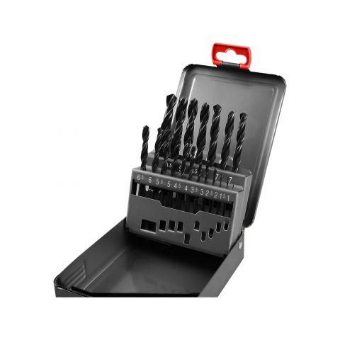 Vrtáky do kovu v kovové krabičce, sada 19ks, 1-10mm, po 0,5mm, HSS, EXTOL PREMIUM
