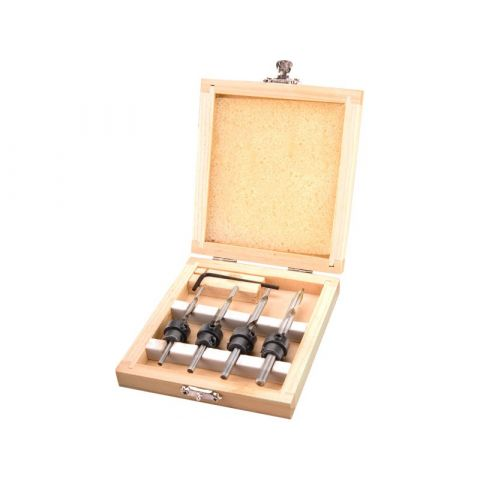 Vrtáky s dorazem a zahlubovacím kroužkem, sada 4ks, Ø 3-4-5-6mm, délka 76-94mm, do dřeva, v dřevěné kazetě, EXTOL CRAFT