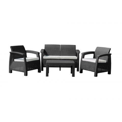 Zahradní nábytek G21 MOANA FAMILY imitace ratanu, černý (2+1+1)