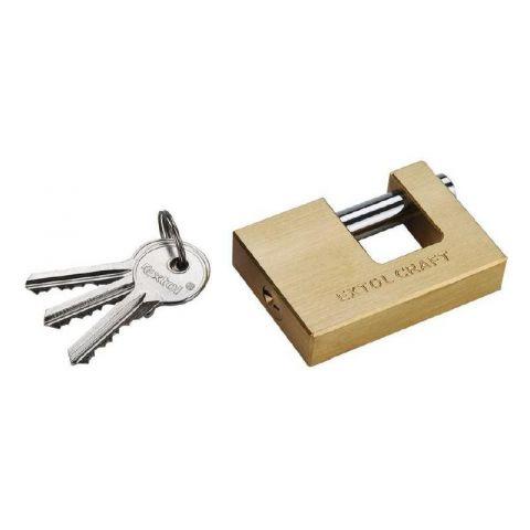Zámek visací čepový mosazný, 60mm, 3 klíče, EXTOL CRAFT