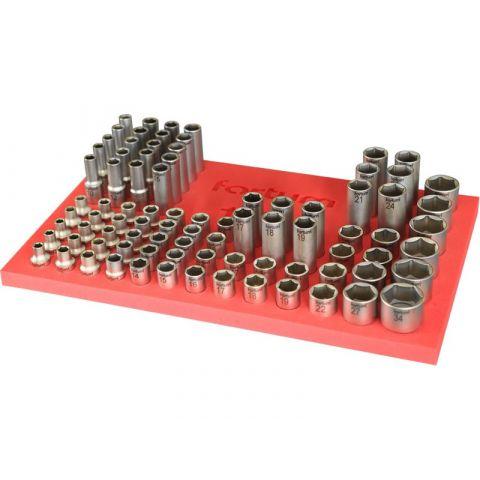 """Zásobník nástrčných klíčů 1/2"""", 86ks, naplněný, FORTUM"""