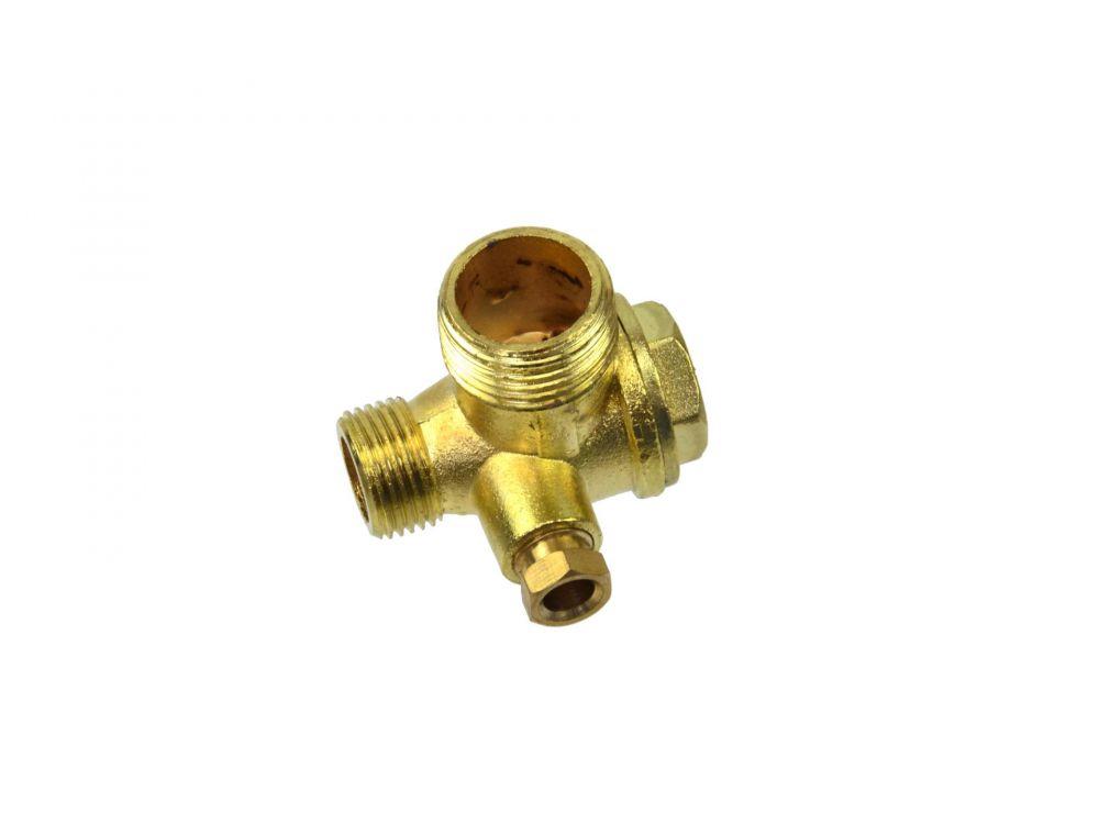 "Zpětný trojcestný, odlehčovací, rozběhový ventil kompresoru 1/2"" x 3/8 x 1/4"" GEKO"